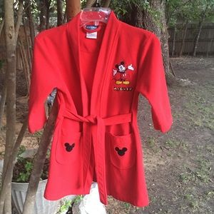 ❤️SOLD❤️ Children's Red Fleece Mickey Mouse Robe
